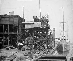 Did you know there was a coal mine in the inner-west of #Sydney from the late 1800s until the 1940s? Here we see the loading of a coal ship by conveyors and elevators at #Balmain Colliery. #TBT #ThrowbackThursday Copyright - http://www.trade.nsw.gov.au/legal/copyright
