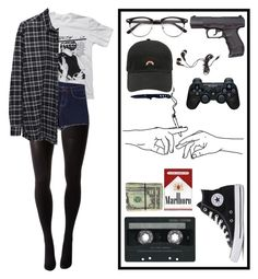 """me at school"" by oluskaluska ❤ liked on Polyvore featuring Hue, Floyd, Pink Stitch, 6397, CASSETTE, Gerber, Arco, Forever 21, Sony and Converse"