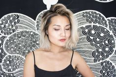 growing out roots gracefully: a transition from bleached hair to highlighted roots...