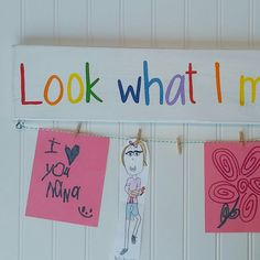 Look what I made! Fun way to display the artwork of little ones in your family.
