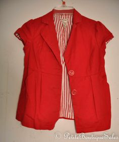 FOREVER 21 SHIRT RED SHORT SLEEVE JACKET BLAZER TOP BLOUSE SIZE S SMALL WOMEN'S
