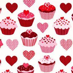 white heart cupcake fabric by Robert Kaufman
