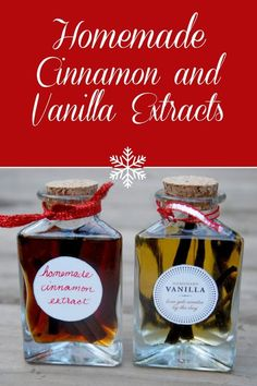 Homemade Vanilla and Cinnamon Extracts: Easy recipe, awesome gift! Homemade Vanilla and Cinnamon is great! Homemade Spices, Homemade Seasonings, Homemade Gifts, Homemade Food, Diy Gifts, Cinnamon Extract, Homemade Vanilla Extract, Cocina Diy, Salsa Dulce