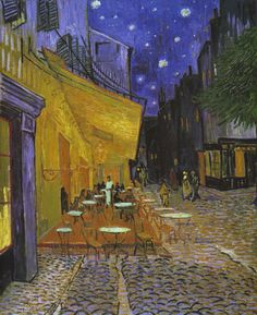 """The Café Terrace on the Place du Forum, Arles, at Night"" (1888) by Vincent Willem van Gogh"