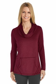 """The Long Sleeve Cowl Neck Shirt is one article of shade clothing you must have in your collection for travel, relaxation or a quick """"just-in-case"""" pullover for immediate sun coverage. A dressier alternative to a plain t-shirt, our French terry knit fabric invites you to indulge in ultra soft comfort with a casual but polished look."""