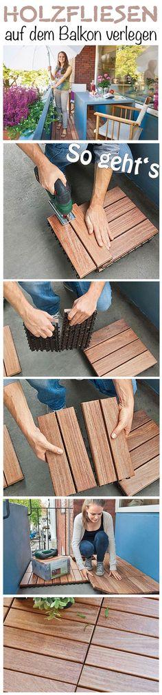 Der Balkon wirkt mit den Holzfliesen gleich viel einladender als mit dem gewöhnlichen Betonboden. Das Verlegen ist extrem einfach – wir zeigen dir, wie es geht.