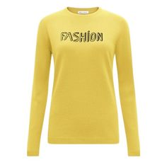 Merino Wool fine gauge crew neck jumper with 'Fashion' intarsia. Model is a size 8 wearing a size small, height Bella Freud, Merino Wool, Knitwear, Jumper, Crew Neck, Yellow, Sweatshirts, Model, Sweaters