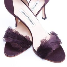 Manolo Blahnik Shoes Manolo Blahnik Brown Silk and Feather Pumps ($350) found on Polyvore