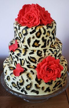 Graduation Layer Cakes for Girls 4385 3 tier leopard print cake