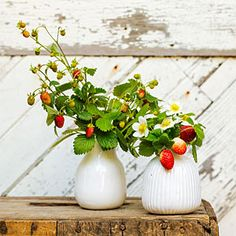 Strawberries aren't only for eating! Try them in a bouquet with a few strawberry blossoms.