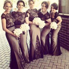 Charming Black Lace Mermaid Bridesmaids Dresses 2016 Short Sleeves Floor Long Plus Size Bridesmaid Party Dress Maid Of Honor