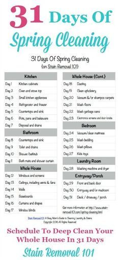 Free printable 31 Days Of Spring Cleaning schedule, to deep clean your whole home in 31 days {courtesy of Stain Removal 101}