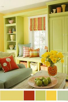 living rooms painted yellow | Red-sage-yellow-green interior decor, living room decorating ideas for ...