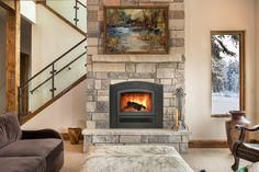 The beautiful RSF Opel Keystone - one fireplace with two facing options; This is the semi-clean face option. Zero Clearance Fireplace, Bio Ethanol, Family Room, Home And Family, Small Fan, Table Design, Farmhouse Bedroom Decor, Dream House Plans, Central Heating