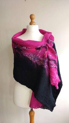 Felted wrap  nuno felted scarf  birthday by HandmadeGalleryTrim