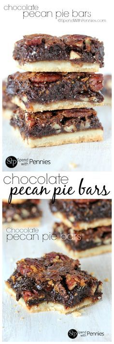 Chocolate Pecan Pie Bars are one of our favorite treats!  A shortbread crust topped with gooey pecan filling, these squares are rich & chocolatey!