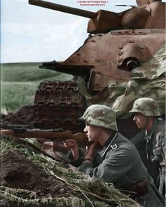 German sniper team next to a knocked out russian T-34