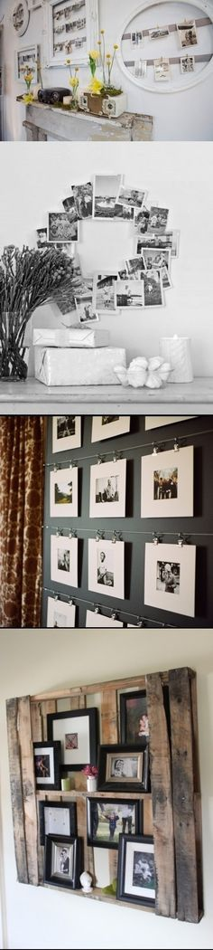 Different ways to display pictures - love the top idea especially.