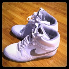 NWOT- Nike Wedges High Top Tennis Shoes AIR FORCE ⭐️ Brand new athletic WEDGE HIGH TOP tennis shoes (raised inside). Never worn. White in mint condition. Nike Shoes Athletic Shoes