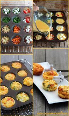 Mini-frittas........ als hapje bij de borrel! Klop 7 eieren en 2 eetlepels melk met wat zout en peper. Vet een muffinvorm voor 12 stuks in. Voeg je favoriete vulling toe, bijvoorbeeld doperwten met verse munt, geitenkaas, gebakken champignons, bacon, geraspte kaas, kerstomaatjes of paprika en verdeel hierna het eimengsel over de holten. Bak in 15-20 minuten in de oven op 180°C krokant en goudbruin. Laat ze iets afkoelen voor je ze uit de vorm haalt.: