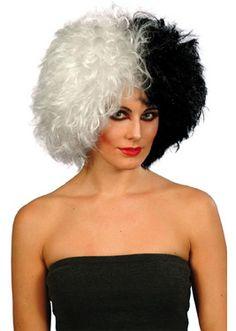 Quirky Parrucca Bob Nero e Bianco Vamp Short Donna Costume Vampiro Halloween