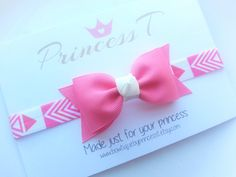 Girls/Baby Bow Headband Pink Hair Bow by BowtiquebyprincessT