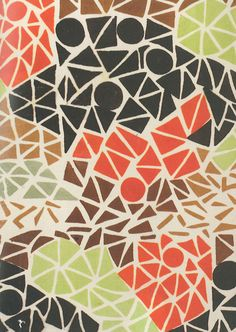 the lovely Sonia Delaunay, Tissu simultané no 145. France, 1926. Block-printed silk crêpe de chine.