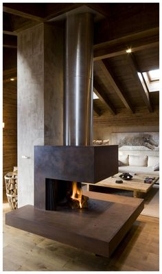 Fireplace in your wooden house. Contemporary interior detail in house Cabin Fireplace, Modern Fireplace, Fireplace Design, Modern Interior Design, Interior Architecture, Interior And Exterior, Contemporary Interior, Wooden House, Home Renovation