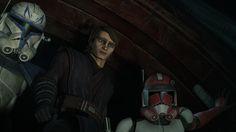 Starring down at his Padawan  Rex, Anakin and Fox watch as Ahsoka descends into the deep.