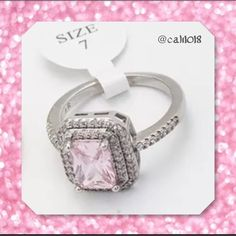 ⏰⏰BOGO FREE ELIGIBLE NOW WHILE SIZES LAST⏰⏰ New White Topaz & Pink CZ Stone Stunning Cocktail Ring Size: 7 White gold filled Fashion Jewelry Very high quality stones Glam Squad 2 You Jewelry Rings