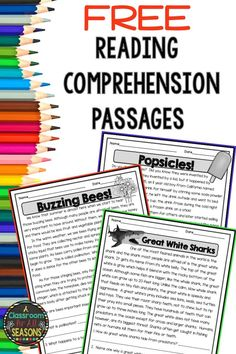 Free Reading Comprehension Passages with Questions Students love these high interest non-fiction reading comprehension passages! They are great for a quick and easy assessment or warm up. You can also use them in reading centers or for homework. Free Reading Comprehension Worksheets, 2nd Grade Reading Comprehension, Third Grade Reading, Reading Fluency, Teaching Reading, Comprehension Questions, Reading Activities, Middle School Reading, Reading Comprehension