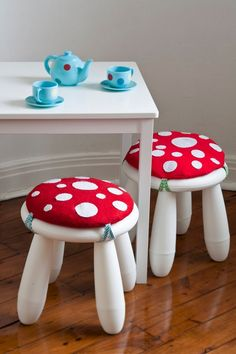 """Love these toad""""stools"""" with kitchen tea set #teaset #playroom"""