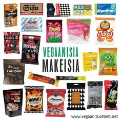 Esimerkkejä vegaanisista lakritseista, salmiakeista, hedelmämakeisista, vaahtokarkeista ja pastilleista! Koko karkkilistan löydät: http://www.vegaanituotteet.net/herkut/karkit Pastillit sen sijaan ovat täällä: http://www.vegaanituotteet.net/herkut/pastillit-purukumit
