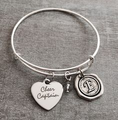 CoCheer Captain, Silver Charm Bracelet, Cheerleader Bracelet, Cheer Bracelet, Cheerleader Jewelry, Cheer Captain Bracelet, Captain, Gifts by SAjolie, $21.75 USD
