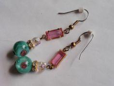 Vintage pink rhinestone and green art glass bead dangle pierced earrings | eBay