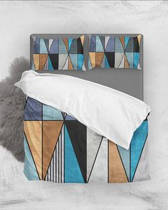 Colorful Concrete Triangles - Blue, Gray, Brown // Duvet Cover + Pillow Shams by Zoltan Ratko // This pattern design is also available as a wall art, apparel, tech and home product. Pillow Shams, Pillow Covers, Pillows, Brown Duvet Covers, Cozy Bedroom, Master Bedroom, Grey Duvet, Blue Bedding, Brown And Grey