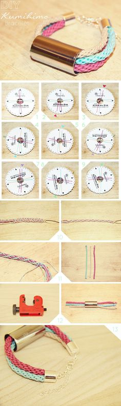 Kumihimo braid DIY tutorial from Fall For DIY #bracelet #jewellery #jewelry