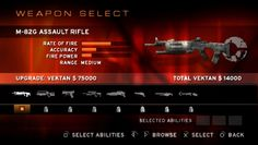 Killzone: Liberation PSP Start weapon selection screen. Here you also can upgrade some weapons.