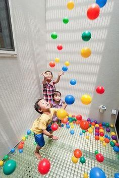 Slides! Balls! | 31 Genius Ways To Bring The Playground Indoors - I love all of these! #funwithtrukid #family #happykids Playroom Design, Kids Room Design, Kid Playroom, Girls Bedroom Furniture, Kids Furniture, Furniture Design, Indoor Climbing Wall, Indoor Slides, Teen Bedroom Designs
