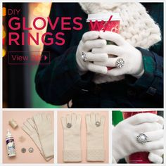 DIY Gloves with Rings by Trinkets in Bloom