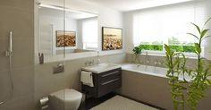 Dieses schöne Bad des Neubauprojekts Mia Vista der hms Immobilien GmbH & co. KG bietet Ihnen eine ebenerdiger Dusche mit Regenduschkopf und bodenintegrierter Ablaufrinne.