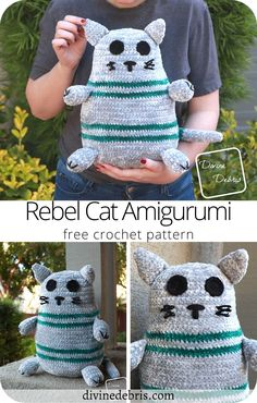 Learn to make the squisy Rebel Cat Amigurumi from a free and easy crochet pattern by DivineDebris.com Crochet Animal Amigurumi, Cat Amigurumi, Crochet Animals, Crochet Toys, Free Crochet, Stuffed Animal Patterns, Stuffed Animals, Homemade Crafts, Easy Crochet Patterns