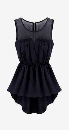 Mesh Insert Hi Lo Waisted Dress in Black