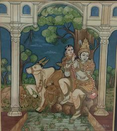 Mysore Painting, Madhubani Painting, Indian Traditional Paintings, Traditional Art, Yashoda Krishna, Krishna Radha, Hare Krishna, Glass Painting Patterns, Temple India