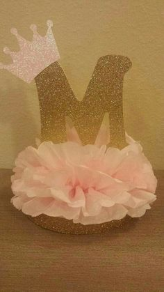 Princess or Prince Initial Tiara Glitter Centerpiece birthday or baby shower table decor Royal little prince or princess pink and gold party deco… - Decoration For Home Baby Shower Table Decorations, Gold Party Decorations, Baby Shower Centerpieces, Birthday Decorations, Princess Party Decorations, Birthday Party Centerpieces, Baby Decor, Royal Princess Birthday, Baby Shower Princess