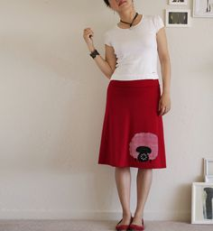 Tomato red  knee length skirt  Handmade applique skirt  by ZoeChen, $54.00