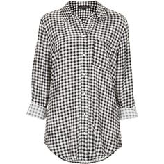TOPSHOP Tall Gingham Check Shirt (£30) ❤ liked on Polyvore featuring tops, blouses, shirts, topshop, black, tall shirts, tall tops, long-sleeve shirt, gingham check shirt and tall long sleeve shirts