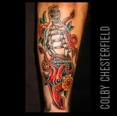 Colby Chesterfield: Fine Tattoo Work Squid vs ship in a bottle