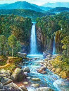 Fall and flow Waterfall Paintings, Scenery Paintings, Nature Paintings, Beautiful Paintings, Fantasy Landscape, Landscape Art, Landscape Paintings, Beautiful Landscape Wallpaper, Beautiful Landscapes