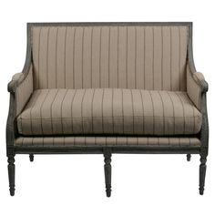 Louis XV Love Bench in Striped Linen - Allissias Attic  &  Vintage French Style